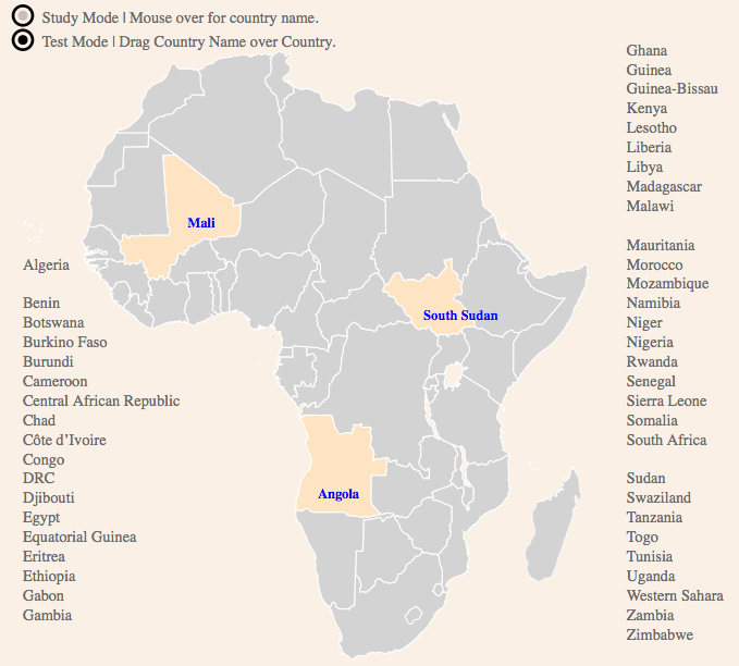 An Interactive Study Map of African States