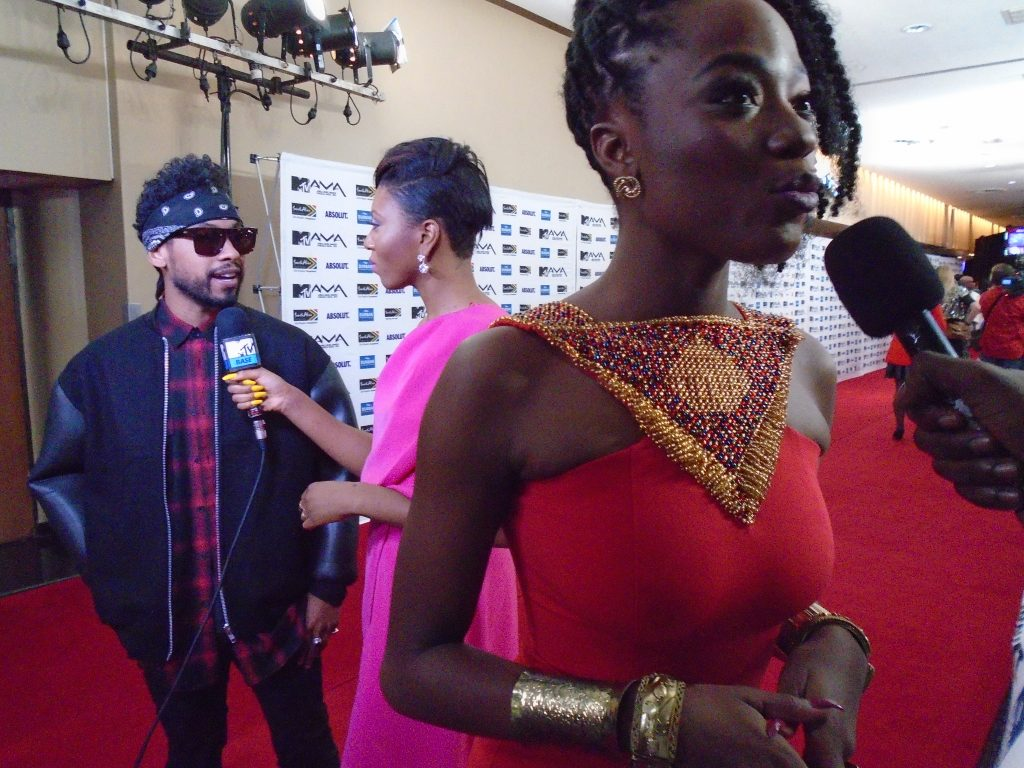 Efya and Miguel on the Red Carpet.